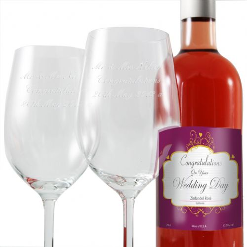Personalised Wedding Rose Wine and Two Flutes